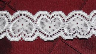 "2 Yards White Stretch Heart Hearts Scalloped Galloon Lace Baby Headband 1"" Wide"