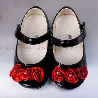 New Toddler Kids Girl Red Rose Black Mary Jane Shoes Size 5 6 7 8 BS807