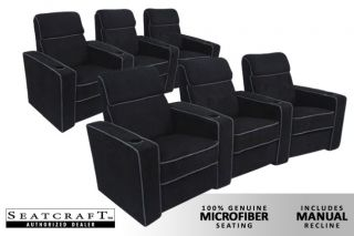 Seatcraft Lorenzo Home Theater Seating 6 Manual Seats Black Chairs Curved Row