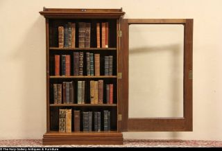 Victorian 1880 Antique Bookcase Wavy Glass Door