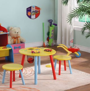 Kings Brand Children's Kids Round Table Chairs 2 Chairs Stools New