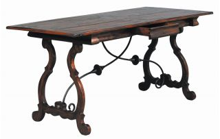 Imperial Spanish Antique Styled Writing Desk Table Hardwood Plank Top Iron New