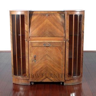 Antique Walnut Art Deco Side x Side Curio Cocktail Liquor Cabinet w Cart C1930s