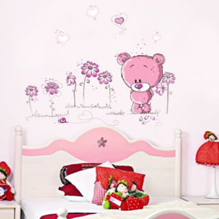 Pink Loving Teddy Bear and Flowers Wall Sticker Decal