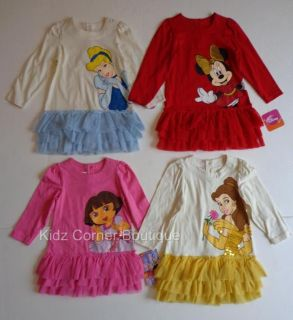 Disney Princess Girls Minnie Cinderella Belle Dora 12 18 24 Months 2T 5T Dress