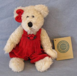 Boyds Teddy Bear Beige JB Bean and Associates Stuffed Plush Red Overalls Jointed