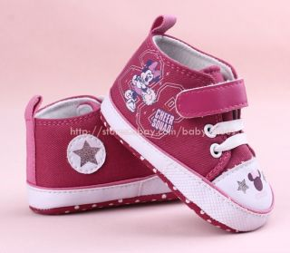 Toddler Baby Girl Minnie Mouse Crib Shoes Sneakers Size 0 6 6 12 12 18 Months