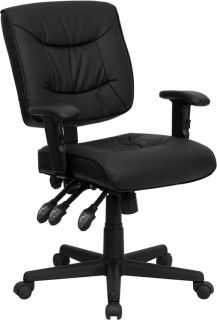 Black Soft Tufted Leather Multi Function Swivel Tilt Office Desk Chairs with Arm