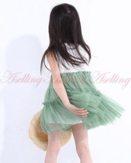 Kids Girls Toddlers Cotton Tulle Tutu Pompon Dress Princess Dresses Summer 4 8Y