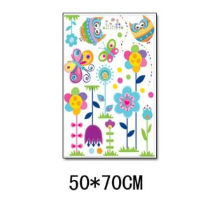 Colorful Flowers Butterfly Garden Owl Kids Removable Wall Sticker Decal
