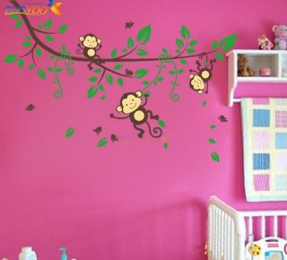 Monkey Wall Stickers Kid Nursery Room Decor Decals Palm Tree Vines Monkies