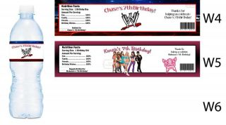 WWE Wrestling Printed Water Bottle Labels Birthday Party Favors Supplies