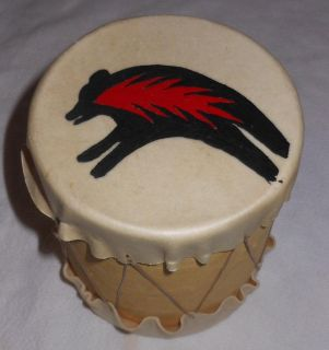 Vintage 1990s Native American Indian Leather Handmade Drum Painted Fire Bear