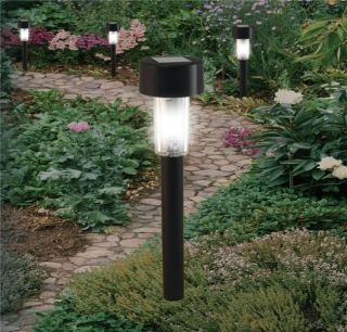 New Black Garden Solar Powered Rechargeable Post Lights Lamps Outdoor Driveway