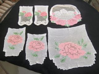 6 Pcs Vtg Crochet Doilies Antimacassar Sofa Chair 2 Sets Shabby Chic Pink Rose