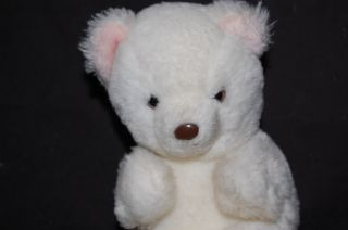 "Vintage 6"" 1980 Gund White Teddy Bear Pink Ears Feet"
