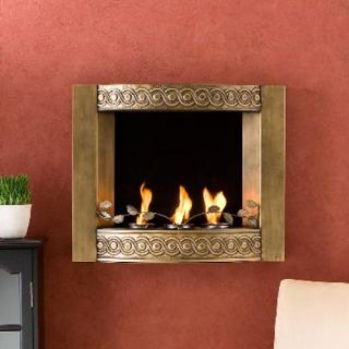 Unique Transitional Antique Gold Wall Mount Fireplace