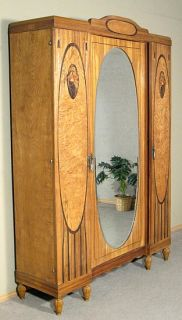 Antique Marquetry Oak Art Deco 3 Door Armoire Wardrobe Closet w Mirror G75C