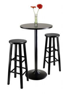"Winsome 20331 3pc Round Black Pub Table w 2 29"" Wood Stool"