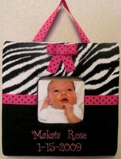 Personalized Monogram Custom Name Zebra Hot Pink Baby Picture Frame Wall Hanging