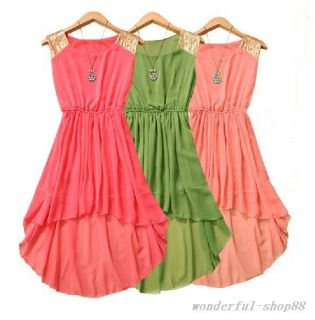 2013 Fashion Elegant Women Girl Chiffon Casual Paillette Shoulder Dress 7 Color