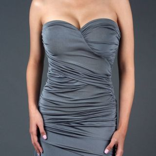 Gray Women's Formal Evening Party Gown Long Dress M Size