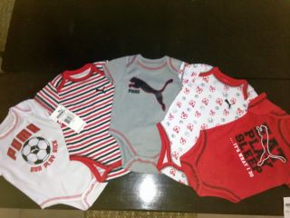 5 Pcs Puma Baby Boys Bodysuit Shirt Clothes Red White Gray Size 3 6M 6 9M