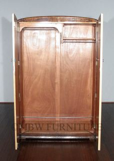 Antique English Bird's Eye View Maple Art Deco Armoire Wardrobe Closet c1930 48B
