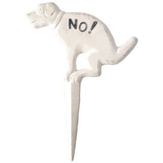 New Dogs Doggie No Pooping Cast Iron Yard Lawn Stake Sign White Fast Free SHIP