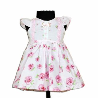 New Baby Girls White and Pink Floral Cotton Party Dress 3 6 Months