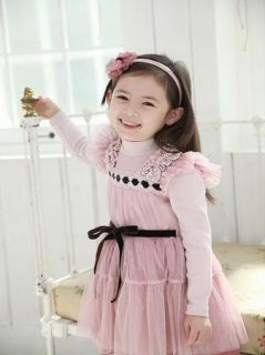 Girl Kids Tulle Shirt Dress Princess Long Sleeve Pegeant Party Costume Cute 2 7Y