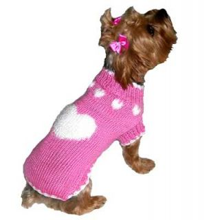 Dog Clothes Pink Puppy Love Sweater XXS thru XL Chihuahua Yorkie Pet Apparel