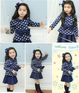 Girls Toddler Dress Dot Coat Top Skirt 1 6Y 2pcs Kids Clothes Set Outfit