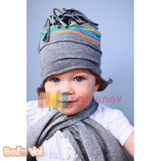 Grey Flower Baby Infant Toddler Newborn Boy Girl Hats Head Hair Child Cap Beanie