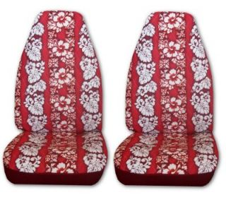 Red Hawaiian Cloth Car Truck SUV High Back Bucket Seat Covers 1