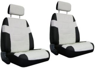 Off White Black Superior Faux Leather Seat Covers w Black Floor Mats More 1