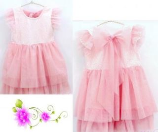 Girls Kids Toddlers Party Pink Blue Tulle Dress Flower Lace Bowknot 2 7Y Clothes