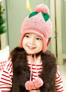 Baby Kids Girl Strawberry Knit Hat Crochet Winter Warm Earmuffs Beanie Ear Cap