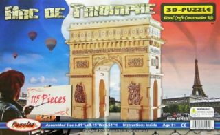 New Arc de Triomphe 3 D Wooden Jigsaw Puzzle Wood Kit 3D Model Arch 115 Pieces