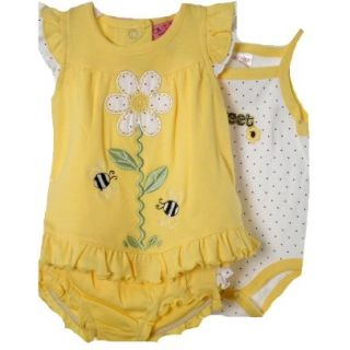Baby Girl 3 Piece Bright Yellow White Daisy Bee Set Top Diaper Cover Onsie