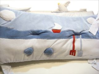 JACADI Baby Boys Crib Bumper Nautica Sailor Sea Bord de Mer Blue White RARE
