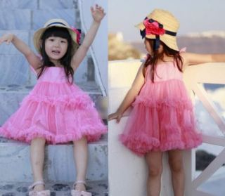 Girls Kids Baby Clothes Party Princess Fluffy Tutu Ruffled Tulle Top Dress S2 8Y