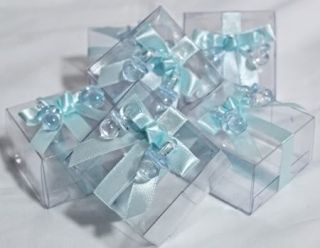 Baby Shower Blue Fillable Pacifier Favor Boxes 6ct