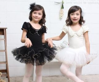 Girls Party Ballet Tutu Dance Dress 3 8Y Kids Leotard Long Short Sleeve Costume