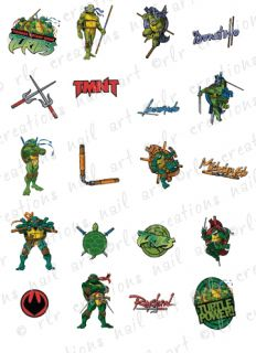 20 Teenage Mutant Ninja Turtles Water Slide Nail Decals 20 Asst Designs TMNT