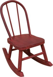 "Doll Rocking Chair Distressed Red Wood Primitive Collectible Accent 15"" Tall"