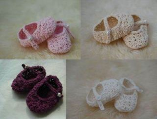 Lovely Hand Crocheted Baby Girl Shoes