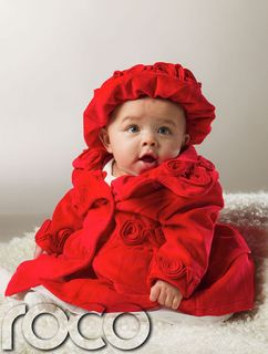 Baby Girls Red Vintage Traditional Coat Warm Winter Peplum Jacket Hat 0 24M