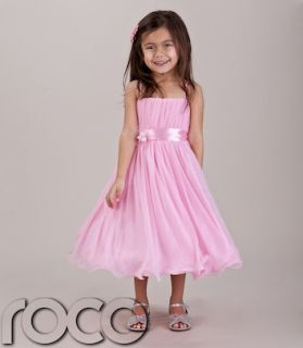 Baby Girls Pink Hoop Dress Bridesmaid Prom Wedding Flower Girls Dresses