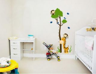 Giraffe Monkey Tree Height Chart Wall Decal Decor Sticker Removable Nursery